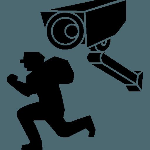 Cámara de Seguridad filmando a un ladrón